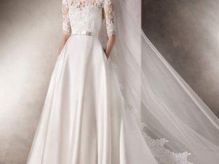 لباس عروس دنباله دار با دانتل فرانسوی